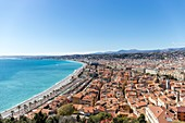 France, Alpes Maritimes, Nice, the Baie des Anges, the Promenade des Anglais and the district of old Nice from the Colline du Chateau