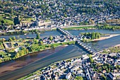 France, Indre et Loire, Loire valley listed as World Heritage by UNESCO, view of city and castle of Amboise (aerial view)