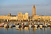 France, Seine Maritime, Le Havre, city rebuilt by Auguste Perret listed as World Heritage by UNESCO, Anse de Joinville, marina with the bell tower of the Church of Saint Joseph at the bottom