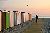 France, Seine Maritime, Le Havre, city rebuilt by Auguste Perret listed as World Heritage by UNESCO, pebble beach and its cabins