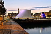 France, Seine Maritime, Le Havre, city rebuilt by Auguste Perret listed as World Heritage by UNESCO, the basin of Commerce, Volcano of architect Oscar Niemeyer and lantern tower of Saint Joseph's church