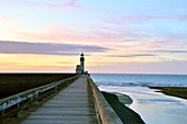 France, Seine Maritime, Le Treport, lighthouse at the end of the jetty