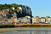 France, Seine Maritime, Le Treport, quay Francois I with old town hall from 1882 and the cliffs