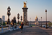 France, Paris, area listed as World Heritage by UNESCO, Alexander III bridge and the Invalides