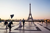 France, Paris, area listed as World Heritage by UNESCO, Place du Trocadero and Eiffel Tower