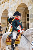 France, Seine et Marne, castle of Fontainebleau, historical reconstruction of the residence of Napoleon 1st and Josephine in 1809, Emperor Napoleon on horseback