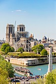 France, Paris, area listed as World heritage by UNESCO, Ile de la Cite, Notre Dame Cathedral and a fly boat