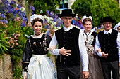 France, Finistere, parade of the Festival of Gorse Flowers 2015 in Pont Aven, individual groups