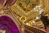 France, Paris, Garnier opera house (1878) under the architect Charles Garnier in eclectic style, the Grand staircase