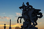 France, Paris, area listed as World Heritage by UNESCO, Jardin des Tuileries, Western terrace, sculpture by Antoine Coysevox in 1701 representing Mercury riding Pegasus with the Eiffel tower in the background