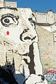 France, Paris, fresco called Chut! by Jeff Aerosol on a facade between Saint Merri church and Centre Pompidou in Igor Stravinsky square
