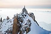 France, Haute Savoie, Chamonix Mont Blanc, Aiguille du Midi (aerial view)
