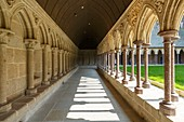 France, Manche, Mont Saint Michel bay listed as World Heritage by UNESCO, Mont Saint Michel, the cloister of the abbey church