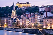 France, Rhone, Lyon, historic district listed as a UNESCO World Heritage site, Old Lyon, Quai Fulchiron on the banks of the Saone river, Saint Georges church and Saint-Just College on Fourviere hill