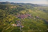 France, Haut Rhin, Alsace wine road, Gueberschwihr (aerial view)