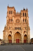 France, Somme, Amiens, Notre-Dame cathedral, jewel of the Gothic art, listed as World Heritage by UNESCO, the western facade