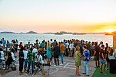 France, Bouches du Rhone, Marseille, Corniche Kennedy, the islet, new place for a drink at sunset