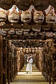 France, Pyrenees Atlantiques, Basque Country, Pierre Oteiza, breeder and artisan in the Aldudes Valley, the ham dryer
