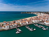 France, Pyrenees Atlantiques, Basque Country, bay of Saint Jean de Luz (aerial view)