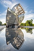 France, Paris, along the GR® Paris 2024, metropolitan long-distance hiking trail created in support of Paris bid for the 2024 Olympic Games, Bois de Boulogne, Louis Vuitton Foundation designed by the architect Frank Gehry