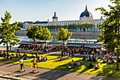 France, Rhone, Lyon, historical site listed as World Heritage by UNESCO, dock Victor Augagneur, Rhone River banks with a view of Hotel Dieu