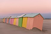 France, Pas de Calais, Berck sur Mer, beach cabins in Berck sur Mer at the end of the season, the wind has swept the beach and erosion gnaws the support of the cabins that rock and give an off season atmosphere