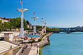 France, Rhône, Lyon, La Guillotiere district, Karen Blixen riverbank on the Rhone, Tony Bertrand Nautical Center and Universite bridge