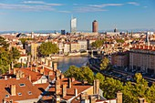 France, Rhone, Lyon, historic district listed as a UNESCO World Heritage site, panorama from Les Pentes de la Croix-Rousse district, Part-Dieu tower (or the pencil) and Incity tower (or eraser)