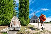 France, Lozere, surroundings of Lajo, hike along the Via Podiensis, one of the French pilgrim routes to Santiago de Compostela or GR 65, Saint Roch de l'Hospitalet chapel