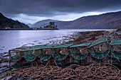 Lobster Creels on the shores of Loch Duich near Eilean Donan Castle, Highlands, Scotland, United Kingdom, Europe