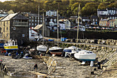 View from harbour to this popular town for commercial fishing, dolphin watching and tourism, New Quay, Ceredigion, Wales, United Kingdom, Europe