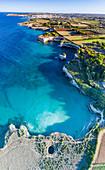 Aerial view of the open grotto known as Grotta Sfondata on cliffs along the coastline, Otranto, Lecce, Salento, Apulia, Italy, Europe