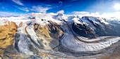 Sunny clear sky over Gorner Glacier (Gornergletscher), aerial view, Zermatt, canton of Valais, Switzerland, Europe