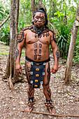 Maya dressed Indian, Yucatec-Maya archaeological site, Ek Balam, Yucatan, Mexico, North America