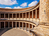 Courtyard of the Palace of Charles V, Alhambra, UNESCO World Heritage Site, Granada, Andalusia, Spain, Europe