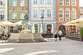 Fountain of Neptune in the Old Town Square, Poznan, Poland, Europe