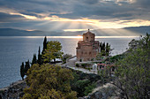 Sunset at Saint John at Kaneo, an Orthodox church situated on the cliff overlooking Lake Ohrid, UNESCO World Heritage Site, Ohrid, North Macedonia, Europe