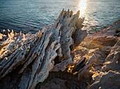 Spiked harsh rock on Antiparos Island, Cyclades, Greek Islands, Greece, Europe