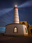 Saint-Mathieu Lighthouse by night, Finistere, Brittany, France, Europe