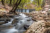 Paleokaria waterfall and ancient bridge, Thessaly, Greece, Europe