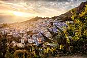 Sunset over Chefchaouen, the blue city of Morocco, North Africa, Africa