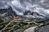 Cloudy day on Locatelli hut and Three Peaks in the Dolomites, Trentino-Alto Adige, Italy, Europe