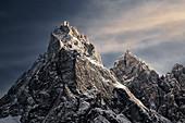 Dolomite mountain with snow at sunset, Trentino-Alto Adige, Italy, Europe