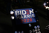 Biden Harris 2020 Political Sign and Buttons at Night