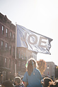 """""""Joe"""" Flag with Young Girl during Election Celebration, Brooklyn, New York, USA"""