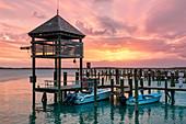 Bahamas, Harbour Island, Sunset over Valentine's Marina