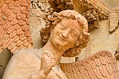 France, Marne, Reims, Notre Dame cathedral, listed as World Heritage by UNESCO, portal, detail of a sculpture representing the angel with the smile on the western frontage