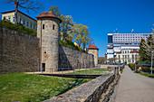 City wall Am Unteren Wall in Schweinfurt, Bavaria, Germany