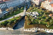 Portugal, Porto, Aerial view of Jardim das Oliveiras with green roof building