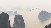 Aerial view over misty Ha Long Bay, North Vietnam
